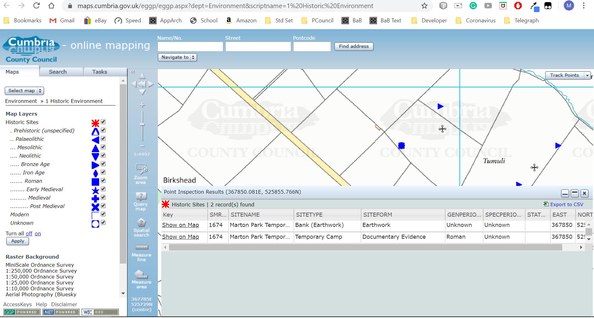 CCC Heritage map showig SMR detailss